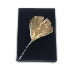 BROCHE GINGKO PLATA NATURAL ARBORETUM 6x6